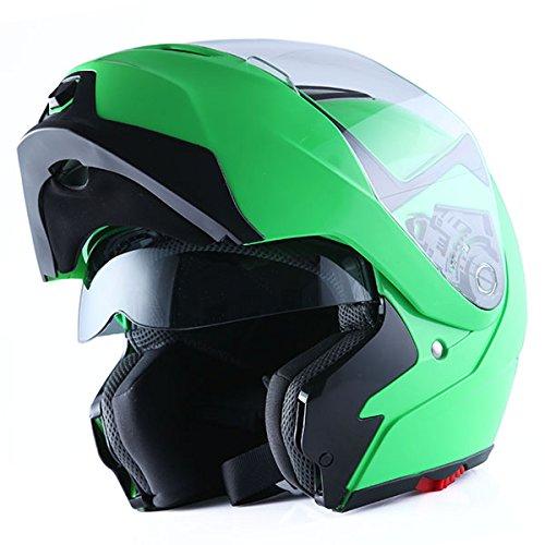 1Storm Motorcycle Street Bike Modular/Flip up Dual Visor/Sun Shield Full Face Helmet (GlossyGreen, XX-Large)