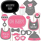 Baby Girl - Baby Shower Photo Booth Props Kit - 20 Count
