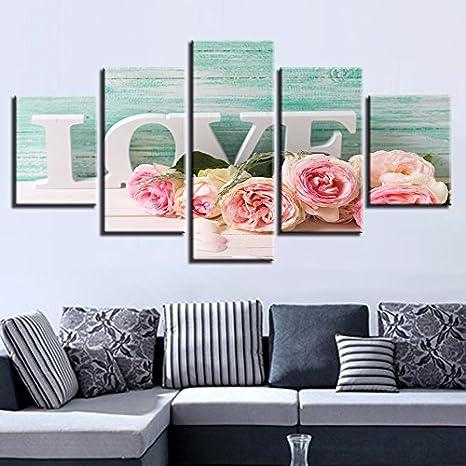 HUDEHUA Dekor///Wandkunst/Wohnzimmer Hd Gedruckt 5 St/ücke/Rosa Rosen Und Buchstaben Liebe Gem/älderahmen Modulare Bilder Leinwand Moderne Artwor