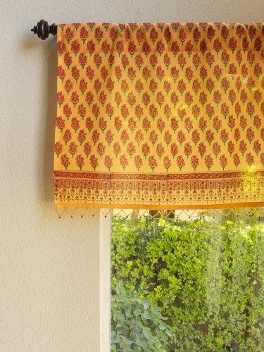 Saffron Marigold – Indian Summer – Orange Paisley Indian Sari Inspired Hand Printed – Beaded Sheer Cotton Voile Window Valance Curtain – Rod Pocket – (46