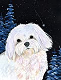 Caroline's Treasures SS8460CHF Starry Night Maltese Flag Canvas, Large, Multicolor For Sale