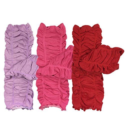 Bowbear Little Girls 3 Pair Gathered Ruffles Leg Warmers, Lilac, Cherry Red, Fuschia