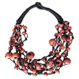 BellaMira Coral Beaded Statement Necklace - Aetisan Crafted & Handmade in India - Sent in Gift Box