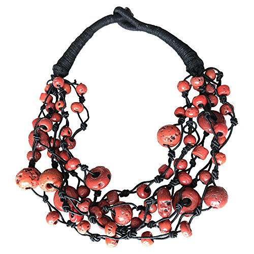 BellaMira Coral Beaded Statement Necklace - Aetisan Crafted & Handmade in India - Sent in Gift Box by BellaMira