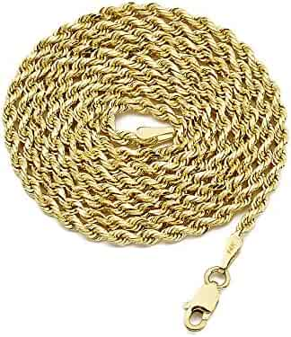 LoveBling 14K Yellow Gold 2.5mm Solid Diamond Cut Rope Chain Necklace with Lobster Lock