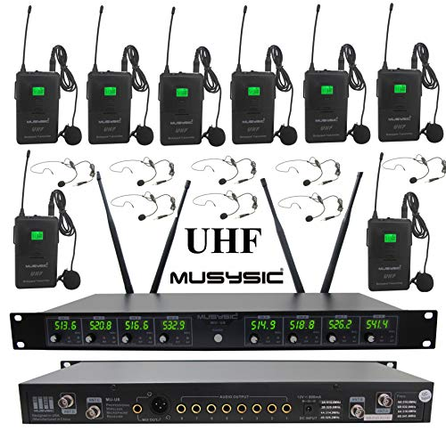 fessional 8-Channels UHF Lapel Lavalier & Headset Wireless Microphone System (FCC Compliance) ()