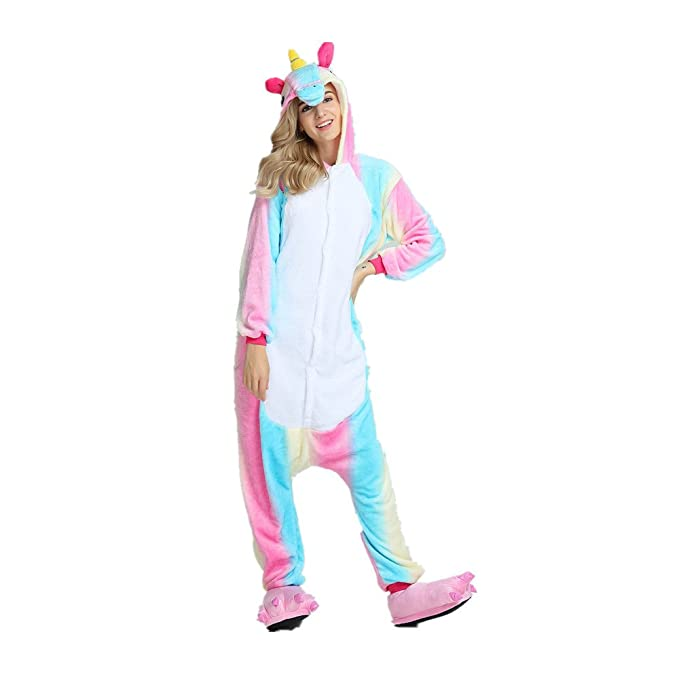 Colorfulworld Pijama de unicornio Cartoon Animal Novedad Navidad Pijama Cosplay (S, Rainbow)