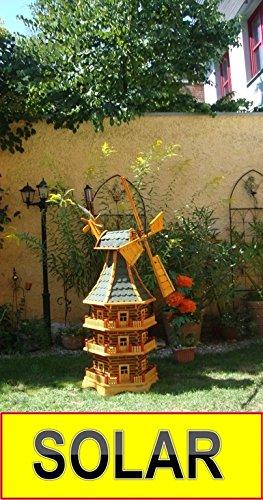 Solar-Windmühle Holz massiv, wetterfest,robust mit Bitumen, MIT WINDFAHNE Windrad-Seitenruder, dreistöckig, WMBRU160gr-MS ,Windmühlen mit Licht, Windmühlen Garten, mit Solarbeleuchtung, MIT SOLAR, für Außen 1,60 m groß grün grau