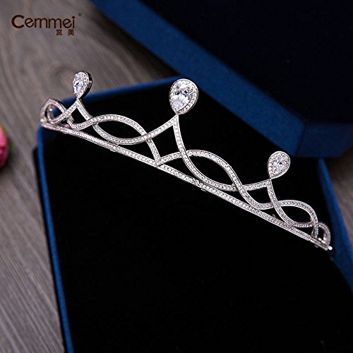 Quantity 1x /Reward_united_ Korean Zircon_ Bridal Crown Tiara Party Wedding Headband Women Bridal Princess Birthday Girl Gift Headdress necklace earrings with _three-piece_ Wedding jewelry . by Generic