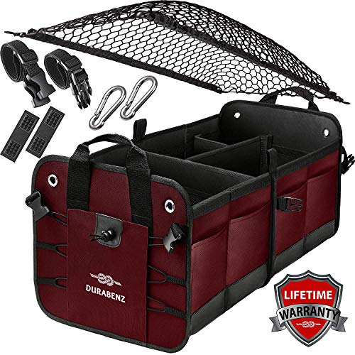 Durabenz Trunk Organizer with Covering Net, Attachable Non-Slip Pads, and Stainless Hooks, Cherrysh (Trunk Christmas Storage)
