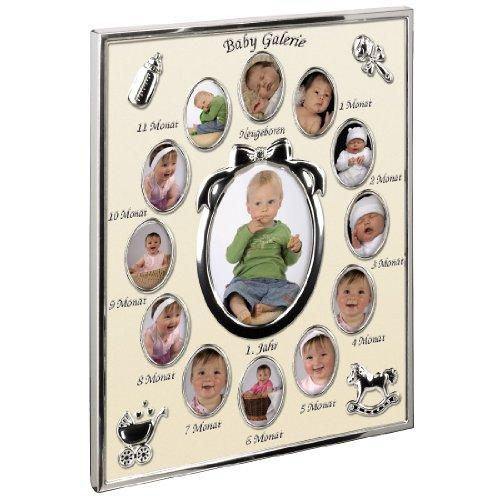 Hama Portrait Bilderrahmen - Mein erstes Jahr Baby, Galerie für 13 Fotos (Fotogröße 9 x 13 cm, Rahmen 24 x 29 cm) champagner