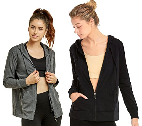 Sofra Teejoy Women's Thin Cotton Zip Up Hoodie Jacket (X-Large, Black/CharcoalGrey) by Sofra