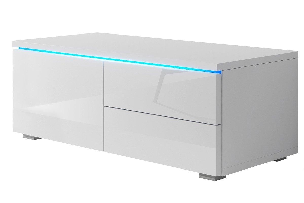 Lowboard TV-Möbel TV-Board TV-Bank Unterschrank, Weiß glänzend ...