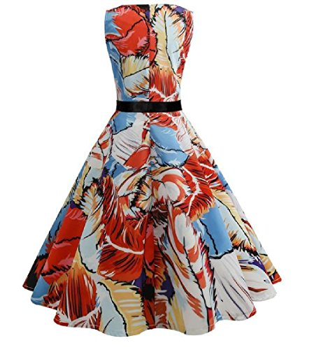 Accept Party Print Hepburn Dress Retrol Cocktail Waist 50s Coolred Women Orange qAxw47C7