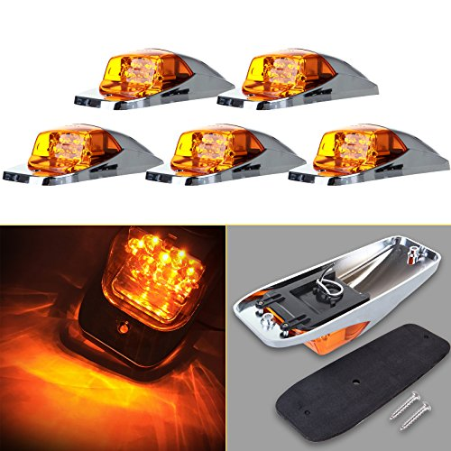 cciyu Cab Marker Light 5x Amber Top Clearance Roof Running Bulbs Chrome base Replacement Cab Marker Assembly Replacement fit for Heavy Duty Trucks Kenworth Peterbilt Freightliner Mack (Amber Chrome Base)