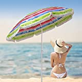 AMMSUN 6.5 Ft Outdoor Beach Umbrella with Fringe 100% UV Sun Protection, Lightweight, Portable & easy to setup in the Sand and secure in the Wind/multicolor-RED