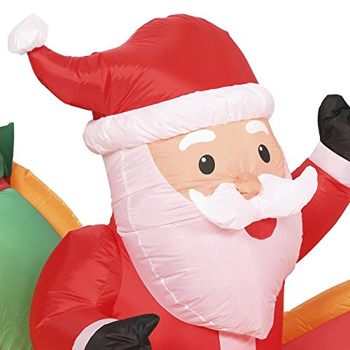Holiday Indoor/Outdoor Inflatable Santa in Sleigh with Reindeers 16ft. Long Airblown Decoration by Gemmy (Image #2)