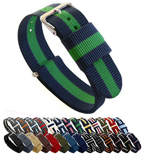 BARTON Watch Bands - Choice of Color, Length & Width (18mm, 20mm, 22mm or 24mm) - Navy/Shamrock 22mm - Standard Length