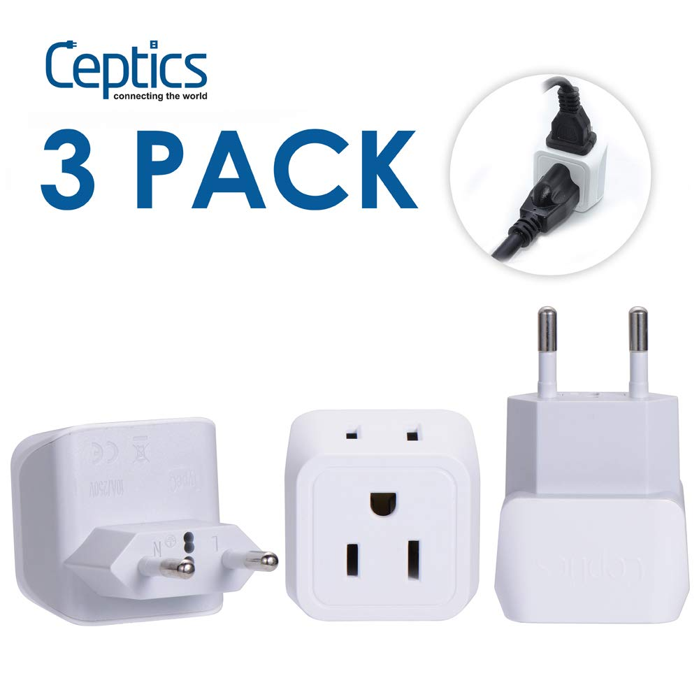 European Travel Plug Adapter, Ceptics Europe Power Adaptor Charger Dual Input- Ultra Compact - Light Weight - USA to any Type C Countries such as Italy, Iceland, Austria and More (CT-9C)