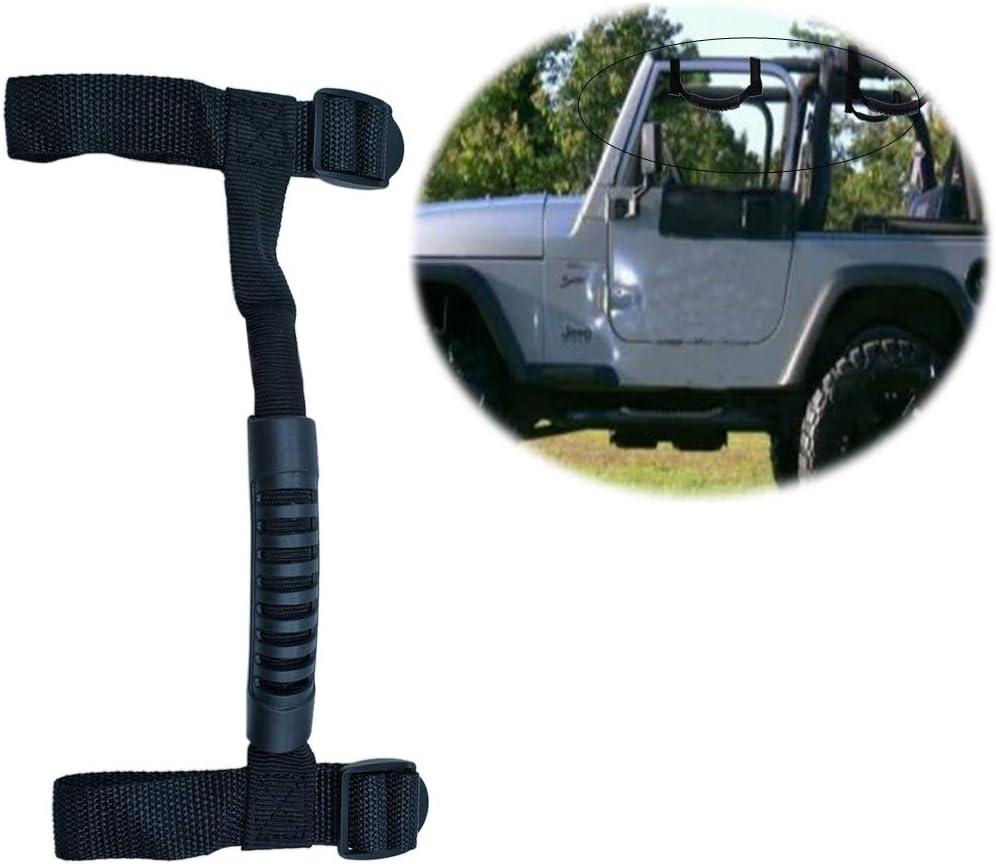 Black Roll Bar Grab Handles Grip Handle Jeep Wrangler Handles for Jeep Wrangler Sports Sahara Freedom Rubicon Unlimited 1995-2018 YJ TJ JK JKU JL JLU
