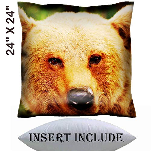 24x24 Throw Pillow Cover with Insert - Satin Polyester Pillow Case Decorative Euro Sham Cushion for Couch Bedroom Handmade IMAGE 21433293 cute face of a brown bear in the middle -