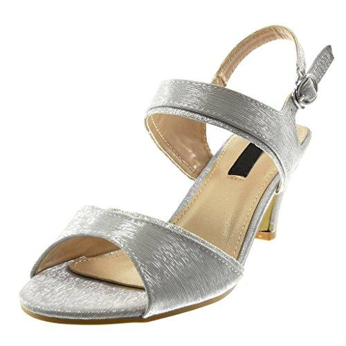 Zapatillas Plata 7 Mujer Cm Metalizado De Tobillo Tacón Moda Escarpín Correa Alto Brillante Brillantes Angkorly Embudo Sandalias Tdwx4BTq