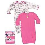 Gerber Baby-Girls Newborn 2 Pack Lap Shoulder Gown, Pink, 0-6 Months