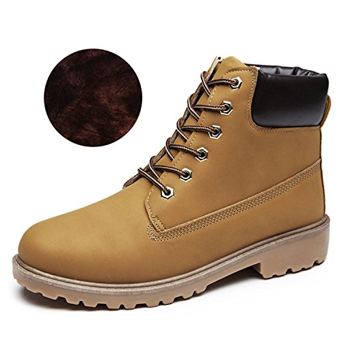 Women Shoes Platform Boots Ankle Boots Suede Rubber Boots lady Botas yellow with lining 8