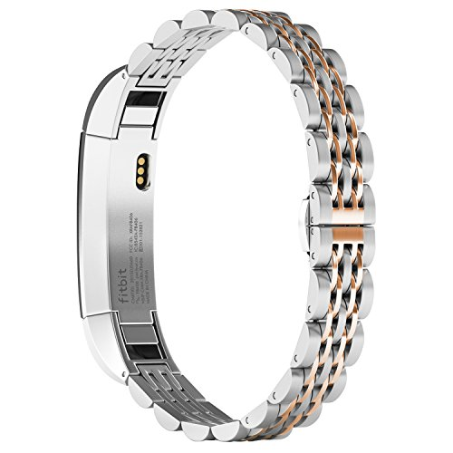 Fitbit Alta (HR) Bands, NO1seller Top Premium Stainless Steel Watch Band Bracelet Strap For Fitbit Alta and Fitbit Alta HR Fitness Tracker (7blade-Silver+Rose - Rose Burch