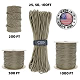 GOLBERG 550lb Parachute Cord Paracord - 100% Nylon USA Made Mil-Spec Type III Paracord - Used by The US Military - Multiple Colors and Lengths Available (Tan 499, 500 Feet)