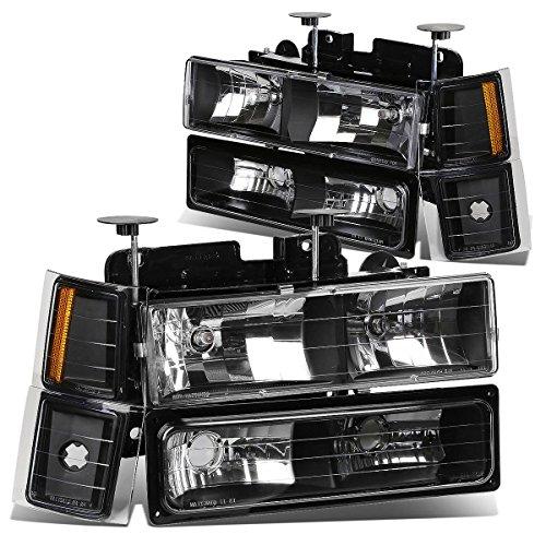 (For Chevy C10 C/K-Series GMT400 Facelifted 8-PC Black Housing Amber Lens Headlight+Bumper+Corner Lights Kit)