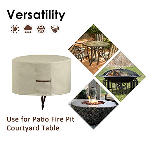 ESSORT Fire Pit Cover, Patio Round Fire Pit Cover with Drawstring UV Resistant Waterproof for Outdoor Grill BBQ Cook Beige (31.5'' X 16'' (Creamy White))