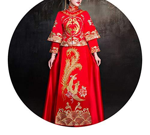 恐怖症公然と続編チャイナドレス花嫁のウェディングドレストーストの服,M
