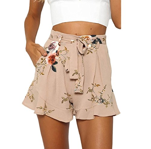 morecome Shorts, Women Skirt Summer Print Short Pants (S, Khaki)