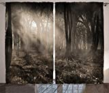 Ambesonne Gothic Decor Curtains 2 Panel Set, Photo of Dark Forest Scenery with Sunbeams and Fog Vintage Nostalgic Colors Gothic Fantasy Art, Living Room Bedroom Decor, 108 W X 84 L Inches, Brown