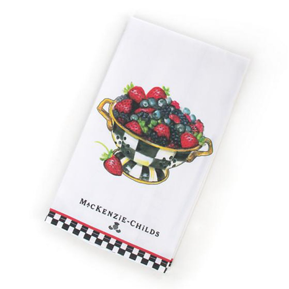 MacKenzie-Childs Dish Cloths for Kitchen – Cotton Decorative Dish Towels – Berry Breakfast Dish Towel – Multicolor Napkin - 18'' Wide 26'' Long