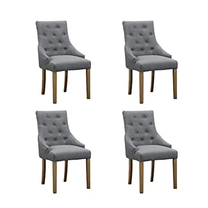 HomeSailing 4 Comfy Armchairs Dining Room Chairs with Arm Only Set of 4  Grey Fabric Upholstered High Back Kitchen Chairs Side Chairs for Bedroom ...