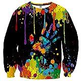 Yasswete Unisex 3D Realistic Printed T-Shirts Crewneck Long Sleeve Tops Pullover Sweatshrits