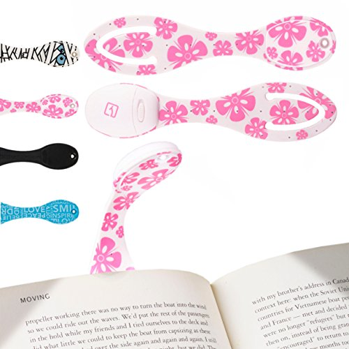 Reading Light for Books in Bed at Night. Bright LED Clip On Book Light & Bookmark. Booklights Make Great Birthday & Christmas Gift or Stocking Filler - Pink Flowers