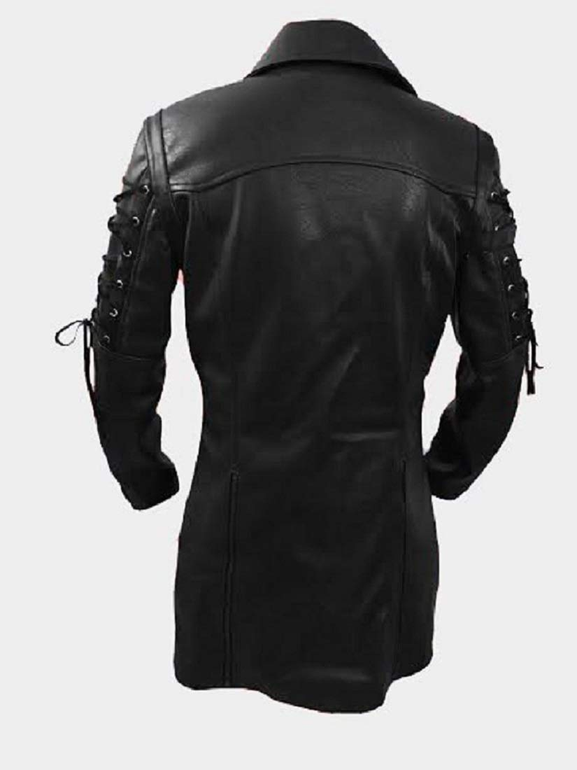 Mens Real Black Faux Leather Coat Goth Matrix Trench Coat Steampunk Gothic 5