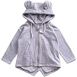 Birdfly Toddler Baby Unisex Cute Ears Hooded Coat Zip Up Jacket Sporty Outwear Kids Fall Winter Clothes (24M, Gray)