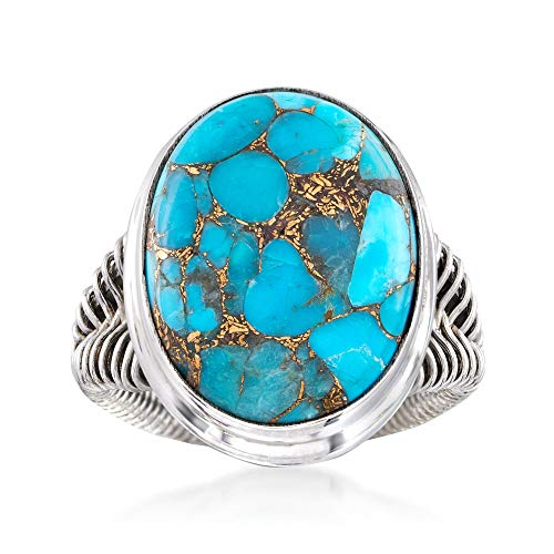 Ross-Simons Oval Turquoise Ring in Sterling Silver ()