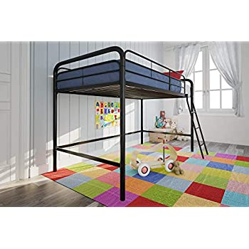 Amazon Com Dhp Junior Loft Bed Frame With Ladder Black Kitchen