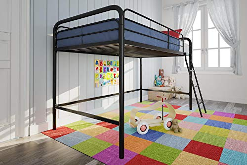 DHP Junior Loft Bed Frame With Ladder, Black - Low Loft Bunk Bed