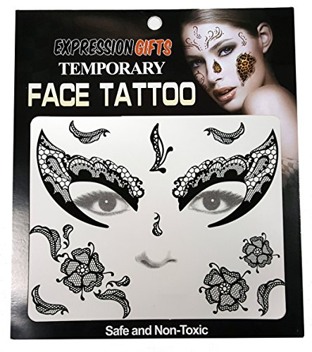 Expression Gifts 2 Pack Temporary Face Tattoo Kits Assorted Styles for Halloween and Masquerade Parties