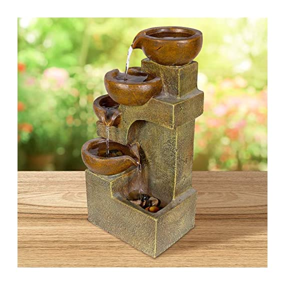 Alpine Corporation 4-Tier Pouring Pots Fountain - Tabletop Indoor/Outdoor Water Fountain for Yard, Patio, Garden - Brown - Make sure this fits                by entering your model number. POURING POTS FOUNTAIN: Outdoor fountain is the perfect addition to your decor. Interior pump keeps the water flowing - just plug it in! RELAXING WATER FLOW: Water trickles down through pots to mimic the sounds of a real waterfall, adding peaceful ambiance to your home or yard - patio, outdoor-decor, fountains - 51z52wUVF%2BL. SS570  -