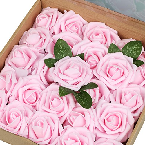 Vlovelife Artificial Flowers Baby Pink Roses 25pcs Real Looking Fake Roses With Stem for DIY Wedding Bouquets Centerpieces Arrangements Birthday Baby Shower Home Party Decorations ()