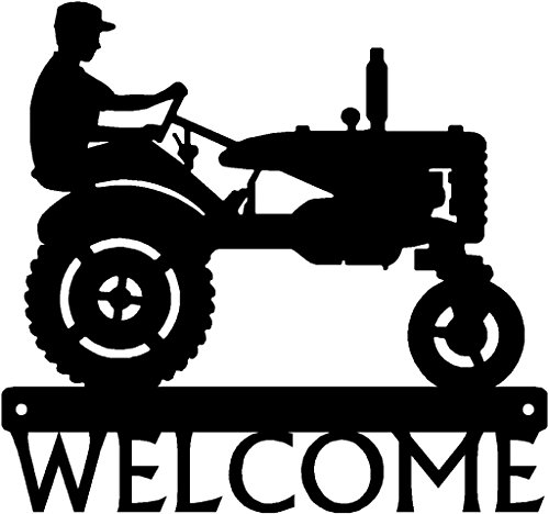 rm Welcome Sign - 12 inch Wide - Tractor and Farmer ()