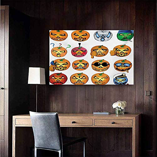 duommhome Halloween Art Oil Paintings Carved Pumpkin with Emoji Faces Halloween Inspired Humor Hipster Monsters Artwork Canvas Prints for Home Decorations 35