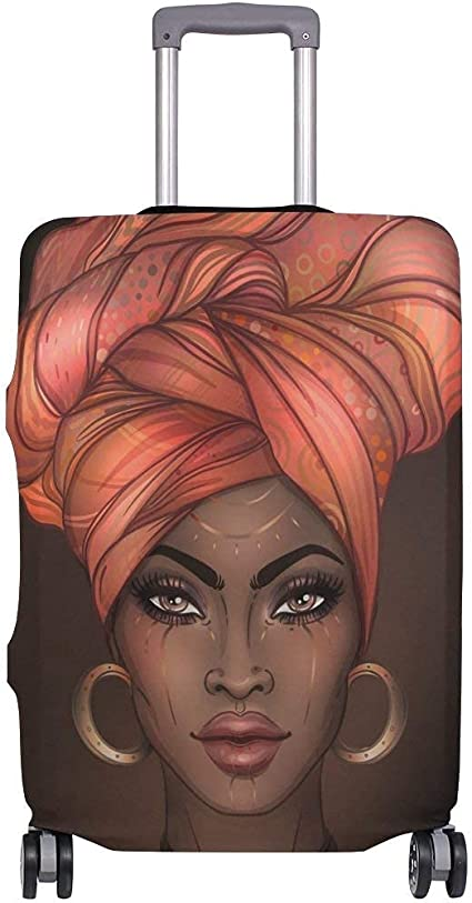 Kingdom Hearts African American Woman Luggage Cover Elastic Suitcase Protector Fits 18-32 Inch